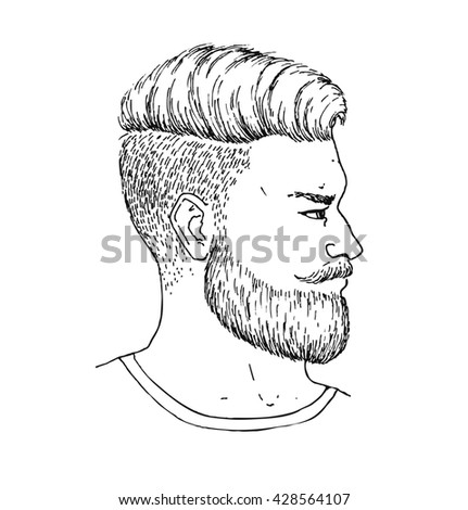 Hand drawn adult man with beard and mustage side portrait. Trendy bearded Hipster style. Engraved illustration