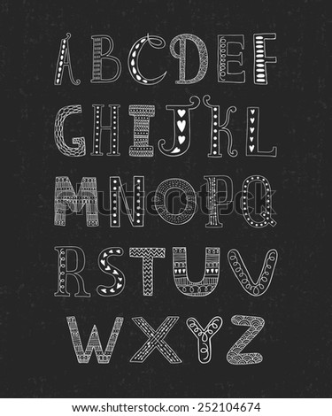 Hand drawn alphabet isolated on black background with retro texture, doodle letters collection on chalkboard - stock photo