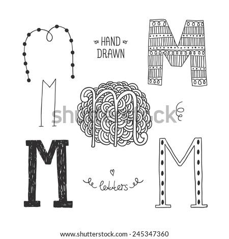 m alphabet letter  Hand drawn alphabet, letter m.