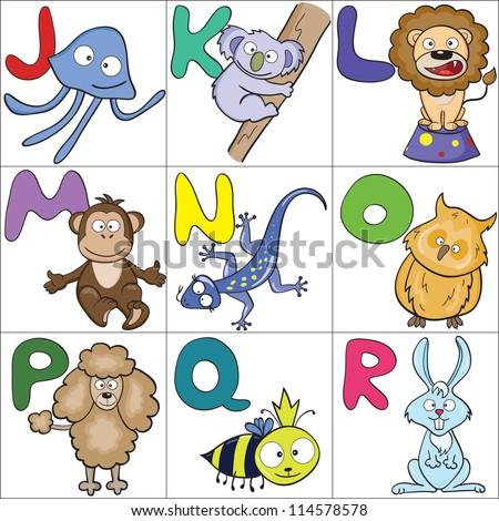 Hand-drawn alphabet with cartoon animals from J to R. Raster version. - stock photo