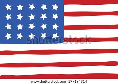 Hand drawn american flag illustration - stock photo