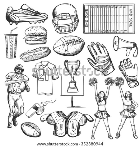 Hand drawn American Football elements with equipment such as helmet, cup, shape, ball, cheerleaders, player, sneakers. Sport background