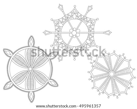 Hand drawn antistress snowflakes. Template for cover, poster, t-shirt or tattoo. Winter coloring pages for adult art therapy. Raster illustration.
