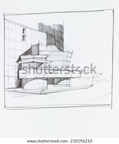 hand drawn architectural perspective of modern office building - stock photo