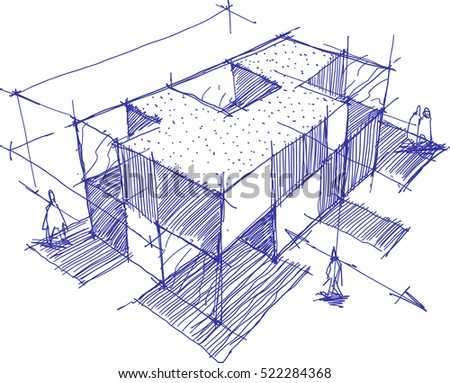 hand drawn architectural sketch of a modern building with people around