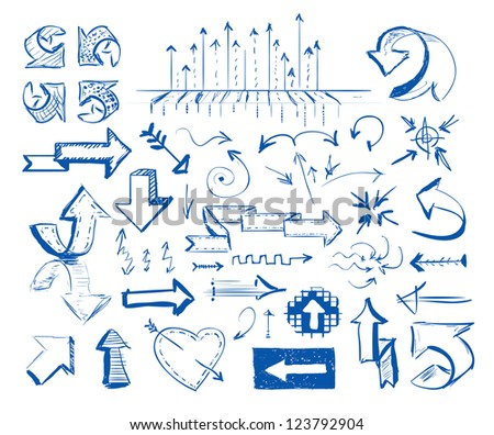 Hand-drawn arrow doodles on white background - stock photo