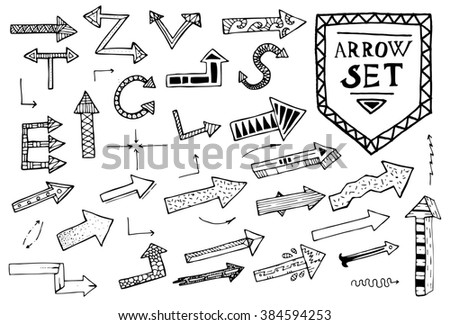 Hand drawn arrow icons set on white background. Education or business concept.