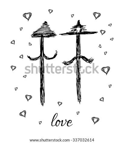 Hand drawn arrow love family gay on white background - stock photo