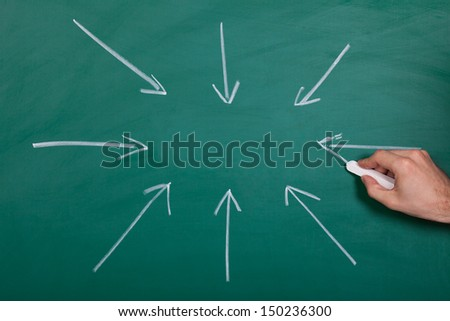 Hand Drawn Arrows Gathering Together On Chalkboard