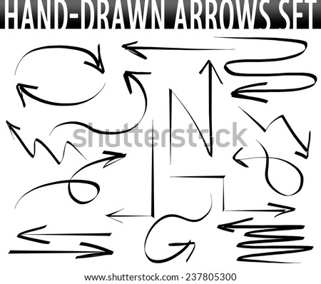 Hand-drawn arrows set - stock photo