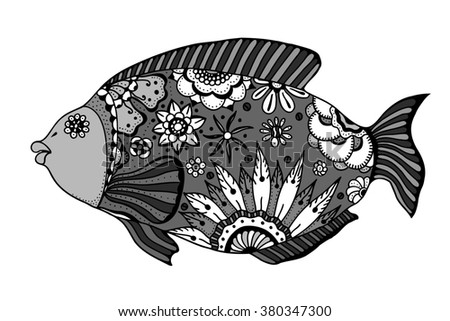 Hand drawn Art fish with floral elements in black and white doodle style. Pattern for coloring book