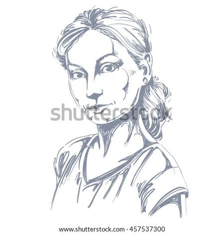 Hand-drawn art portrait of white-skin romantic woman, face emotions theme illustration. Beautiful lady posing on white background, tenderness.