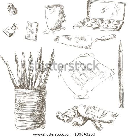 Hand drawn art tools - stock photo