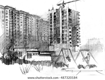 Hand-drawn artwork: building work of multi-storey houses in a big modern city