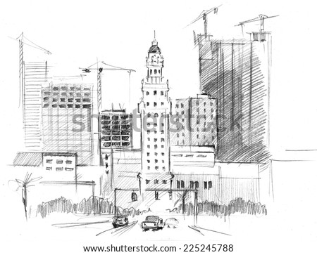 Hand-drawn artwork:  building work of skyscrapers in a big modern city - stock photo