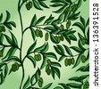 Hand drawn background with branches and green olives. Raster version of the vector image - stock photo