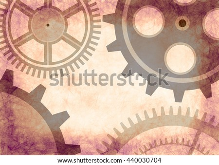 Hand drawn background with gear wheel in beige colors. Abstract grunge background with mechanism of watch. Series of Drawn Grunge, Oil, Pastel, Chalk and Inc Backgrounds. - stock photo