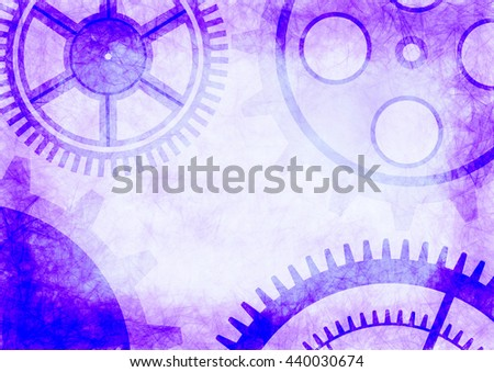 Hand drawn background with gear wheel in blue colors. Abstract grunge background with mechanism of watch. Series of Drawn Grunge, Oil, Pastel, Chalk and Inc Backgrounds. - stock photo