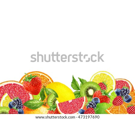 Hand-drawn Berries and Fruits on white background. Digitally colored illustration.