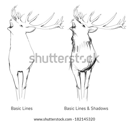 Hand Drawn big deer buck - stock photo