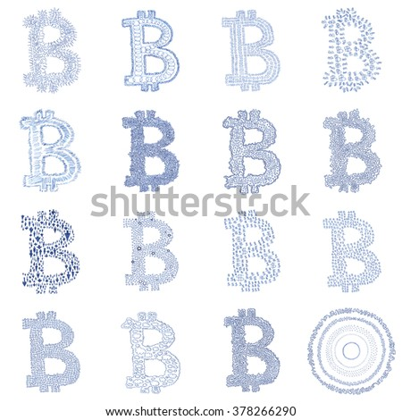 Hand-drawn Bitcoin logo. Collage of a digital decentralized crypto currency symbols. - stock photo