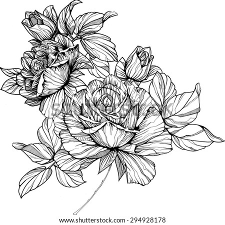 hand drawn black and white flowers
