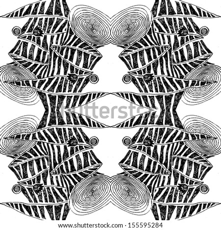Hand drawn black and white symmetrical drawing  - stock photo