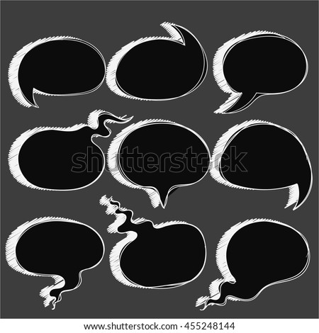 Hand drawn black round speech bubbles with shadow. Frames for text, words, phrases, sentences of sketch line. Doodle balloons for comic dialogues, messages, talks, conversations, ideas, thoughts