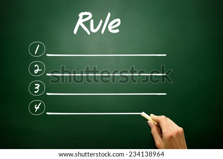 Hand drawn Blank Rule list concept on blackboard - stock photo