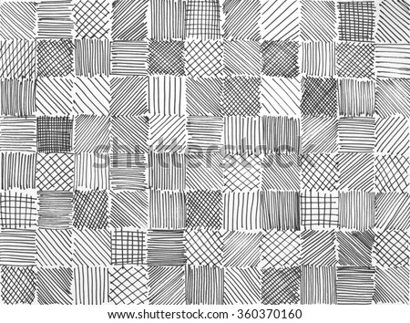 hand drawn block background with various squares of hatchwork sketch doodles in random pattern of lines stripes checkered tiles and diagonal slanted marker strokes in black white and gray colors - stock photo