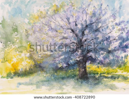 Hand drawn blooming cherry tree.Picture created with watercolors - stock photo