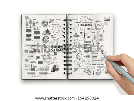 hand drawn book of success business and strategy as concept - stock photo