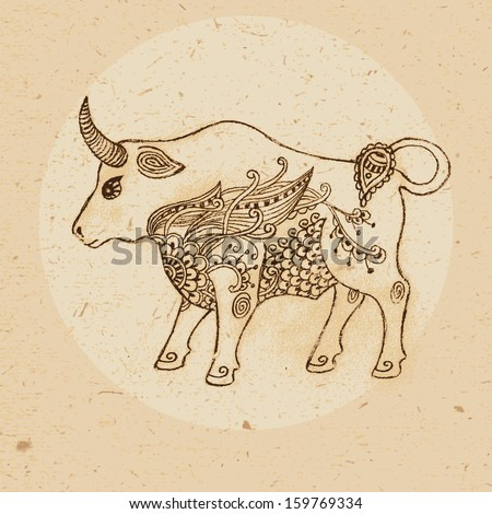 Hand drawn bull with elements of the ornament in ethnic style. Zodiac sign - Taurus. - stock photo