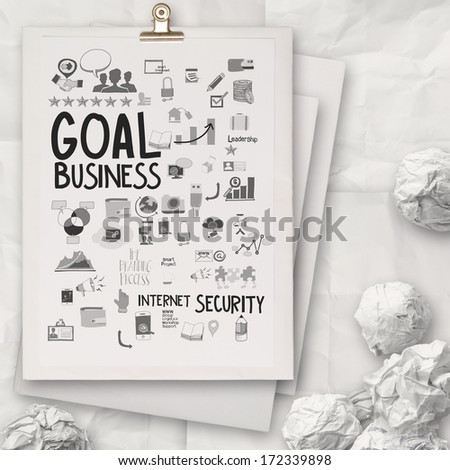 hand drawn business strategy on white book background as concept - stock photo