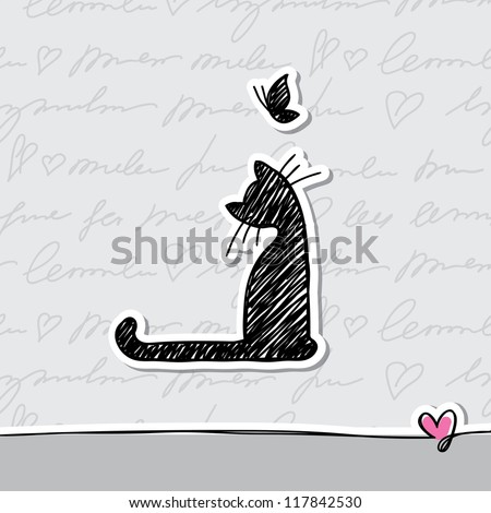 hand drawn card with cat and butterfly - stock photo