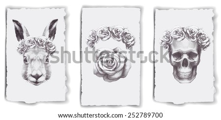 Hand drawn cards with roses, rabbit and skull - stock photo
