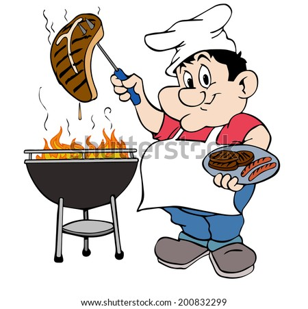 hand drawn cartoon bbq chef barbecue guy stock illustration