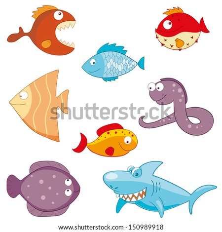 Hand-drawn cartoon fishes. Raster version. - stock photo