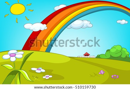 Hand drawn cartoon of summer landscape. Colourful cartoon of summer background. Cartoon of green meadow in summer. Cartoon background of summer landscape with sunny glade, rainbow and flowers.