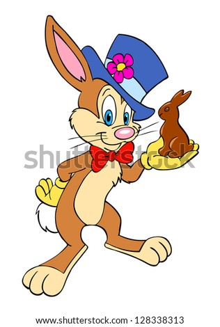 Hand drawn cartoon Rabbit/Easter Bunny With Chocolate