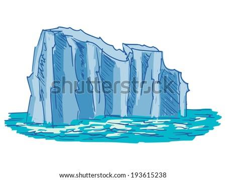 hand drawn, cartoon, sketch illustration of iceberg - stock photo