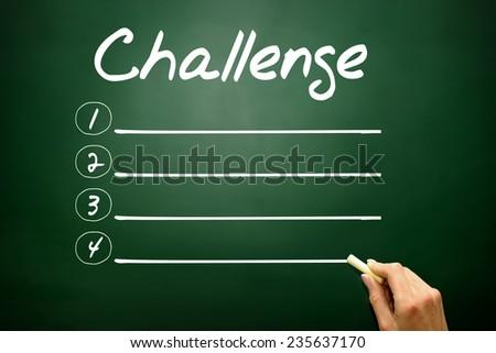 Hand drawn Challenge blank list, business concept on blackboard - stock photo