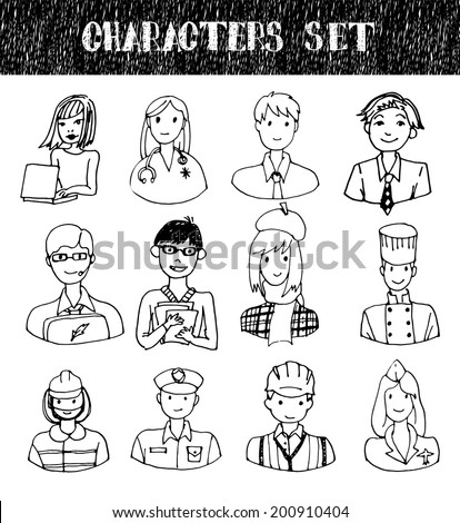 Hand drawn characters set.  - stock photo