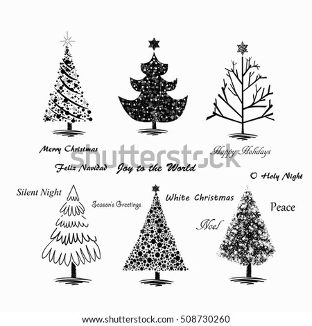 Hand drawn Christmas trees on white background with popular holiday quotes written across the illustation.