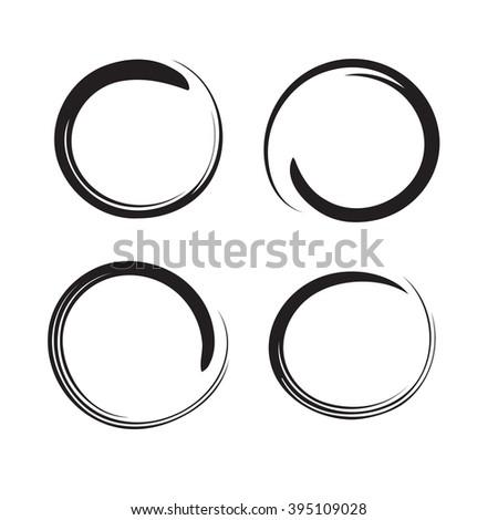 Hand drawn circles, design elements  - stock photo