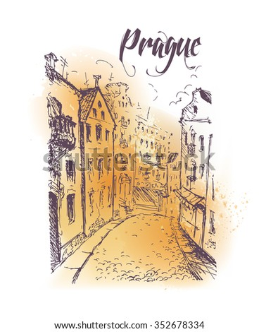 Hand drawn city sketches. Prague architecture. Ink drawing. Ancient european buildings. Good for poster, placard, advertising, any graphic design, book illustration.