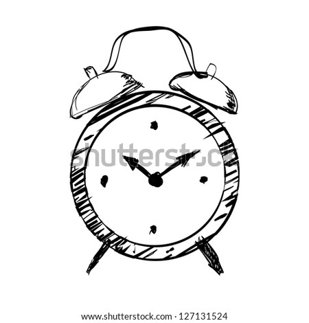 Hand drawn clock - stock photo