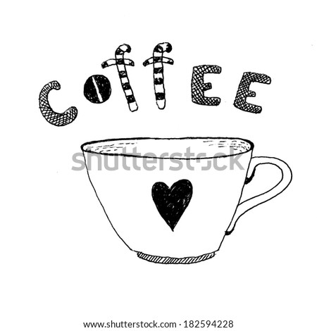 Hand-drawn coffee illustration - stock photo