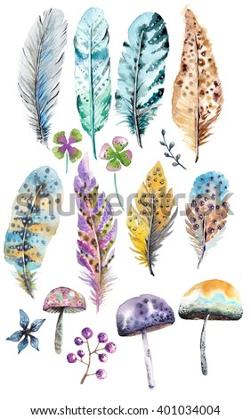 Hand drawn colorful watercolor feathers and mushrooms background, beautiful illustration - stock photo