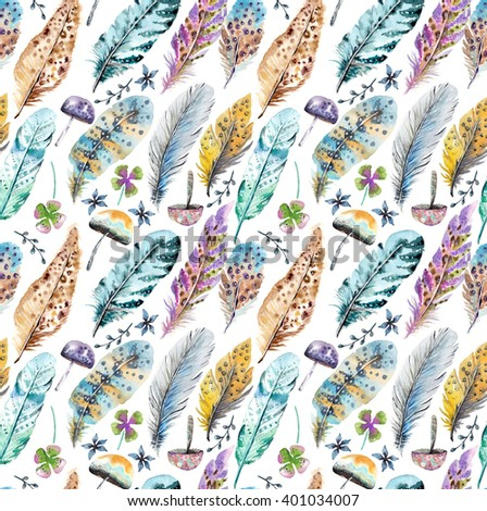 Hand drawn colorful watercolor feathers and mushrooms background, beautiful illustration, seamless pattern